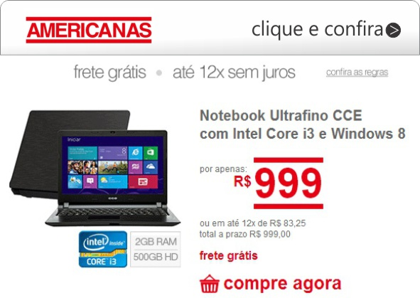 americanas notebook ultrafino cce i3