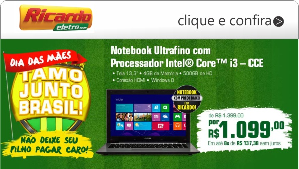 notebook ultrafino com porcessador intel i3
