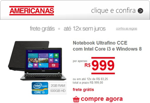 americanas notebook ultrafino cce core i3