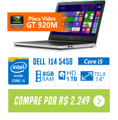 Notebook Dell Inspiron I14-5458-A40 Core i5-5200U 8G, 1TB Bluetooth Placa Gráfica de 2GB LED 14