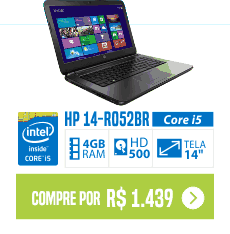 Notebook preto HP 14-R052BR Core i5 4GB 500GB Tela LED 14