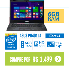 "Notebook ASUS PU401LA-WO073P Intel Core i3 6GB 500GB LED 14"" Preto"