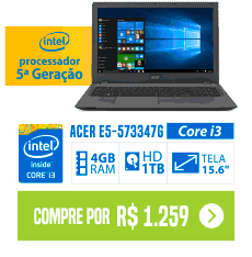 Notebook Acer E5-573-347G Intel Core i3 4GB 1TB Grafite