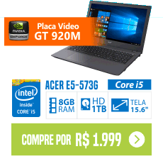 Notebook Acer E5-573G-58B7 Intel Core i5 8GB (2GB Memória Dedicada) 1TB LED 15,6