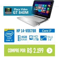 "Notebook HP 14-V067BR Intel Core i7 4GB (2GB de Memória Dedicada) 1TB LED 14"" Windows 8.1 - Branco"