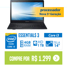 Notebook Samsung Essentials 3 core i3 4GB 1TB Tela 14 barato
