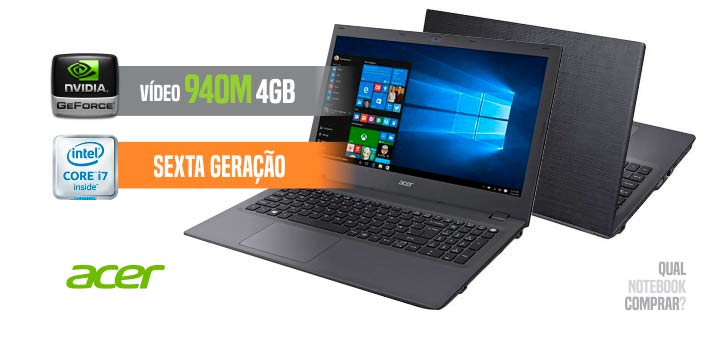 Acer E5-574G-75ME Core i7 e vídeo 940M de 4 GB