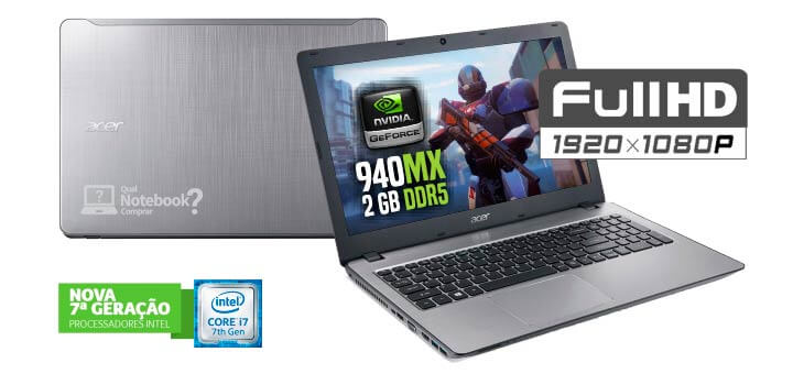 Notebook Acer F5-573G-74G4 com tela full hd