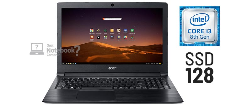 Acer Aspire 3 A315-53-31DC Intel Core i3-8130U 8 GB RAM 1 TB HD Endless OS Preto
