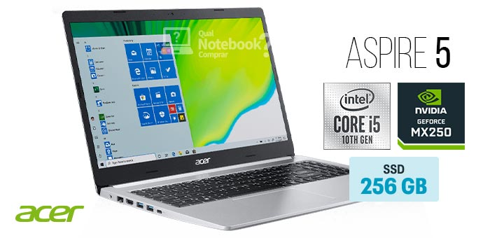 Acer Aspire 5 A515-54G-53GP capa Intel Core i5 decima geracao SSD 256 GB GeForce MX250