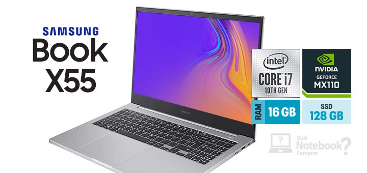 Samsung Book X55 NP550XCJ-XS2BR Prata capa Intel Core i7 RAM 16 GB SSD 128 GB HD 1 TB GeForce MX110